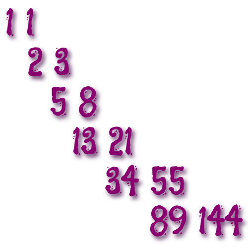 In this example, we create an unusual illustration of Fibonacci integers. We enter the first two values horizontally and write their sum down below the second value. Then we add the last two vertical integers and write their sum on the right. Then we add the next two horizontal values and write down the sum below, and so on. This way, we get an easy to follow Fibonacci sequence. We convert it to an image of the size of 480×480 pixels. We use purple color for the integers and a white color for the canvas. We also use a custom font called Flavors and add a dark violet 5 o'clock shadow to integers.